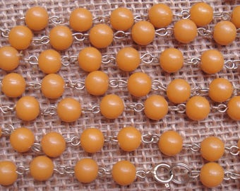 """Orange beaded chain remnant lot - shabby beaded chain destash for upcycle, repurpose, salvage - 3 segments, 45"""" total"""