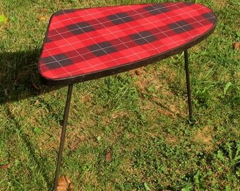 Vintage Tripod Coffee Side Table Mid Century Mod Space Age Tartan Pattern