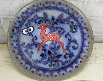 Beautiful Cobalt Blue Wall Plate Charger Merkelbach Grenzhausen Germany Deer