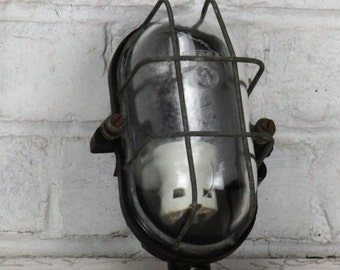 Vintage Industrial Machine Age Explosion Proof Lamp Sconce Light Steampunk