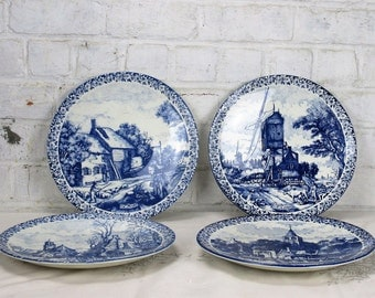 Set of 4 Delft Blue Charger Plates four Seasons Spring Summer Autumn Winter