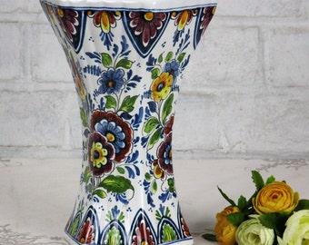 Delft Holland Polychrome Porcelain Vase Floral design Marked
