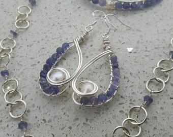 Blue Lagoon Tanzanite & Freshwater Pearls Wire Woven 3 Piece Set