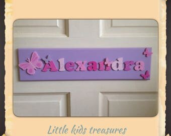 X LARGE Childrens hand made wooden name plaques / door signs. Girls Personalised up to 12 letters - Little kids treasures