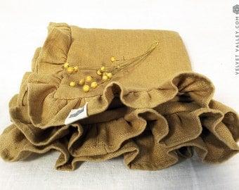 Linen pillow sham with ruffles-Softened linen dusty mustard cushion- Light honey linen pillow case- Decorative pillow with ruffles