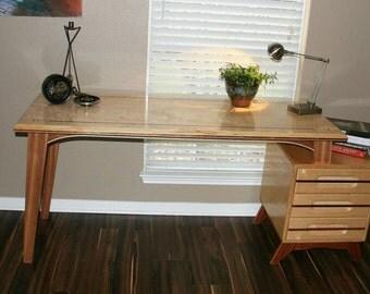 Beautiful midcentury inspired mahogany and birch desk.