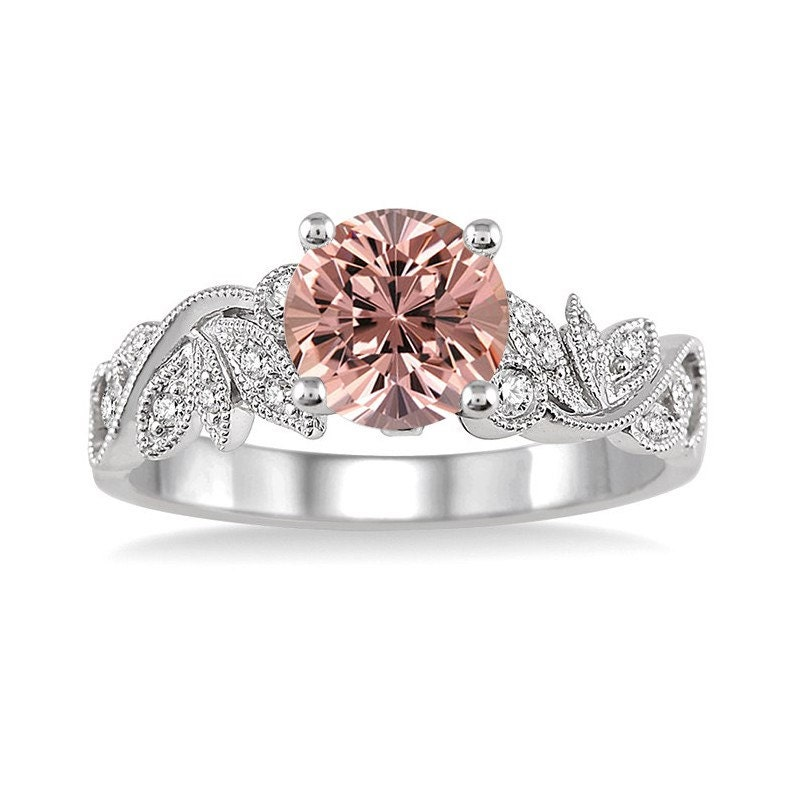 Limited Time Sale 1 25 Carat Round cut Morganite and Diamond