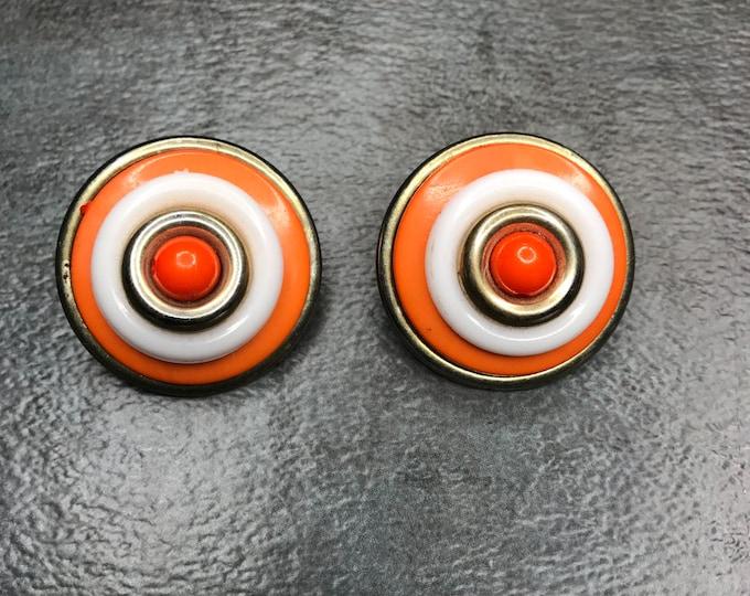 Vintage Estate Orange White Gold Mod Earring