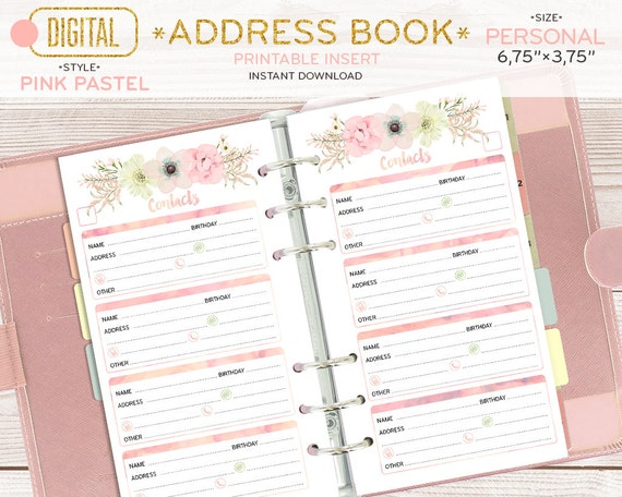 personal size address book for planner contacts printable
