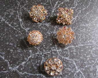Lot of Five Rhinestone and Gold Tone Pins Brooches