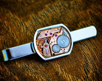 Omega Watch Movement Tie Slide - Silver