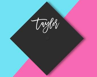 GRADUATION CAP First Name vinyl decal   happy graduation cap grad Class of 2017 grad high school college graduate Custom Graduation Grad Cap