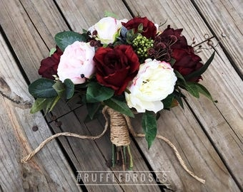 Boho Bouquet, Burgundy Blush Bouquet, Bridal Bouquet, Wedding Bouquet, Wine Bouquet