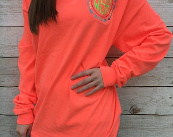 Monogrammed Comfort Color Longsleeve pocket Tees, Arrows, Sorority, Initials, Personalized Clothing