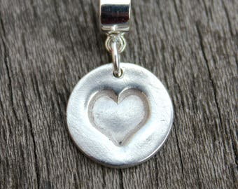 Silver love heart charm, embossed heart charm, silver charm for bracelet, pandora heart charm, handstamped charm, silver heart