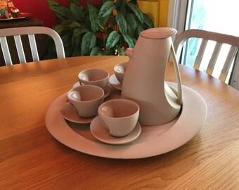 Modern White Tea Set with Tray, circa 1980's