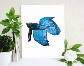 Blue Betta Fish Art Print, Beta Fish Art, Half Moon Betta, Fighting Fish, Fish Lover Gift, Betta Fish Memorial, Fish Illustration, Pet Fish