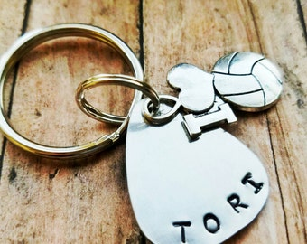 Volleyball keychain, name, volleyball mom, personalized key chain, volleyball gift, teammate gift, sports key ring, coach gift, gift mom