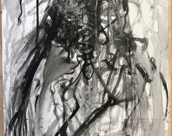 Acrylic painting on canvas, original artwork, black and white, abstract painting, art collectors