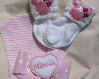 Monogramed Heart on Polka Dot bow on Hat with Mouse Socks! 1st Keepsake! Newborn Hospital Hat. Newborn Beanie. Baby's 1st Keepsake!
