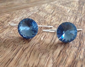 Handmade Sterling Silver Swarovski Crystal Earrings - Denim Blue, Crystal Earrings, Silver Earrings, Crystal Drop Earrings, Silver Jewellery