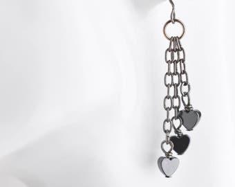 Black heart earrings, hematite bead tassel earrings, heart jewelry, urban fashion, industrial jewelry, grey urban earrings, gift for her