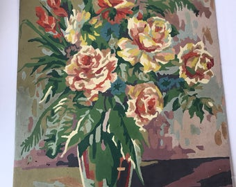 Vintage Floral Bouquet in Vase Paint By Numbers Unframed - Roses Gladiolas