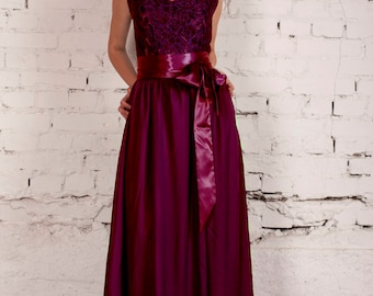 Bridesmaids dress, Bordeaux dress, Wine Maxi Dress, Marsala Gown, Burgundy Prom Dress, Elegant dress, Lace prom dress, Long Dress, Ball gown