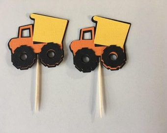 24 Dump Truck Cupcake toppers. Set of 24. Great for Birthday parties or baby showers. Free Shipping