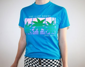 80's Blue 'The Last Resort' Palm Springs T-Shirt M
