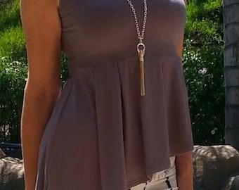 Maya Antonia Grey Asymmetric Ruffle Peplum Top Sleeveless