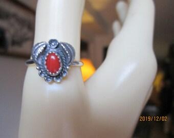 Vintage Genuine Coral Sterling Silver Southwestern  Ring Size 6, Wt. 1.7