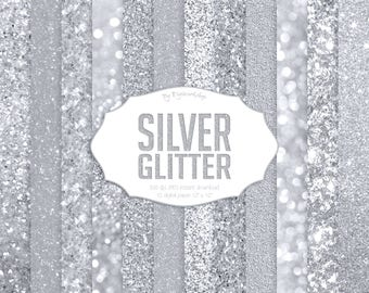 "Silver Glitter Textures Digital Paper ""Silver Glitter"" shining silver backgrounds, wedding gray textures"