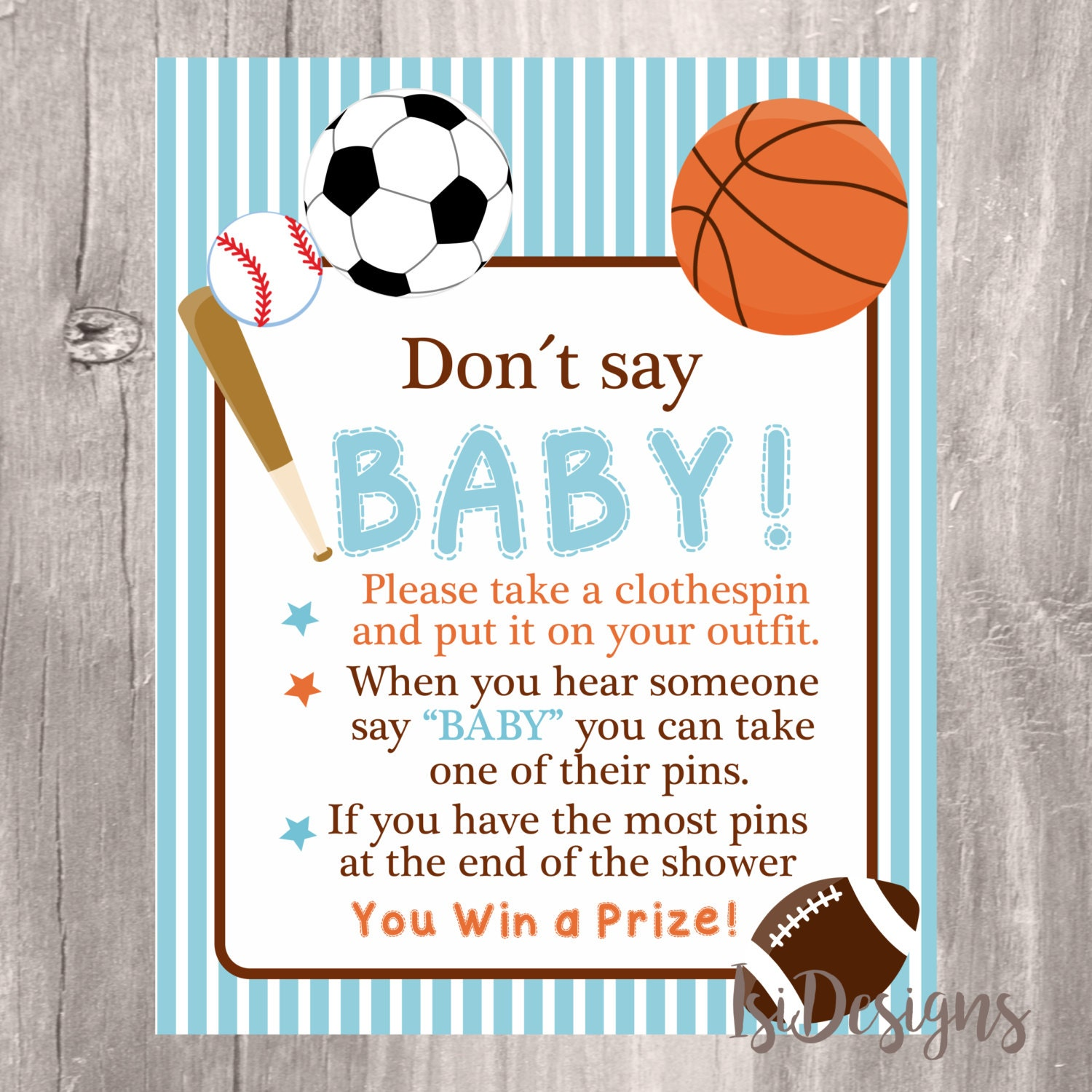 Don t Say Baby Sign Baby Shower Game Printable Sports