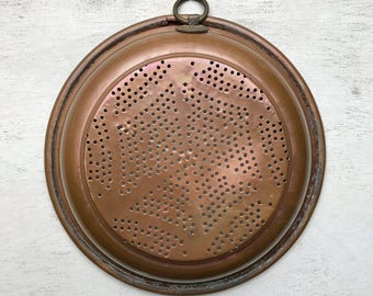 FRENCH VINTAGE COLANDER / Strainer / Copper / Shabby chic / Home decor / French vintage / Sieve / Kitchenware / Cookware / Wall hanging