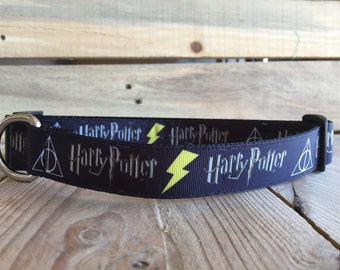 "Harry Potter Dog Collar, Lightning Bolt Dog Collar, Quick Release Buckle, 1"" Wide"