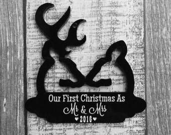 Our First Christmas As Mr & Mrs Deer Ornament - Buck and Doe - Hunting - Together - Wedding - Anniversary - Gift