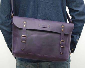 Leather messenger bag ,indigo blue distressed color