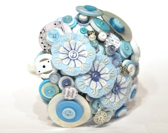 Alice in Wonderland themed button bouquet / Felt Button wedding Flowers / Blue and White forever Bouquet / Embroidered forever heirloom