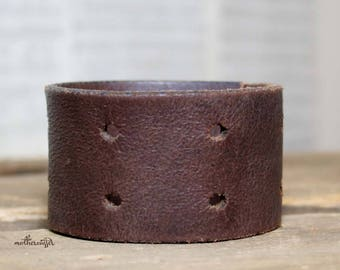 CUSTOM HANDSTAMPED brown leather cuff by mothercuffer