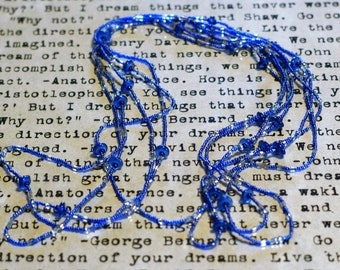 Magnificent Vintage Handmade Native American Multi Strand Glass Beaded Necklace, Cobalt Blue