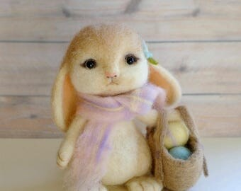 Easter bunny and her basket of Easter eggs needle felted handmade OOAK wool rabbit