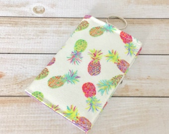Pineapple Multi Mini Fabric Wallet, Credit Card Wallet, ID Wallet, Cash Wallet, Business Card Holder, Keychain Wallet, Gifts
