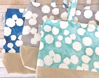 Polygon Geometric Linen And Canvas Tote Bag, Beach Bag, Work Tote, School Bag, Book Bag, Travel Tote Bag