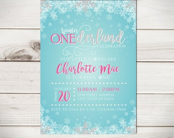 Winter Birthday Invitation, Winter ONEderland Birthday Invitation, Snowflake Birthday Invitation,  Winter Wonderland Birthday Invitation 005