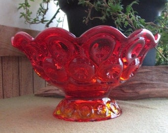 Amberina Footed Bowl L.E. Smith's Moon and Stars Vintage Red and Orange Bowl