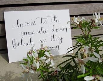 Handwritten La La Land quote, A5