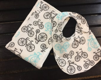 Bicycle Baby bib and burp cloth set in Michael Miller on Oso Cozy diaper