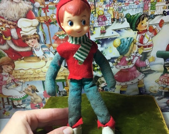 Vintage Christmas boy bendable doll