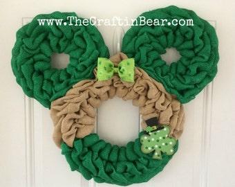 St. Patrick's Day Minnie Mouse wreath - Burlap wreath - Mickey Mouse wreath - St. Patrick's Day wreath - St. Patrick's Day burlap wreath
